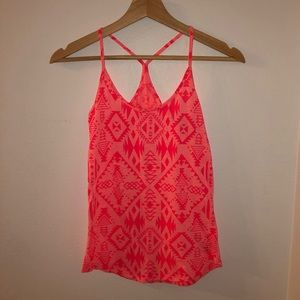 VS PINK Neon Pink Racer Back Tribal Print Tank
